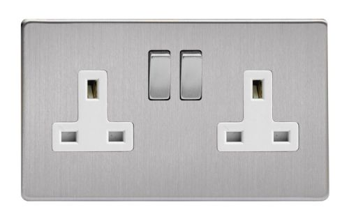 Varilight XDS5WS Screwless Brushed Steel 2 Gang Double 13A Switched Plug Socket